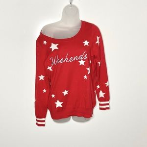 Chaser cashmere blend 'weekends' graphic sweater